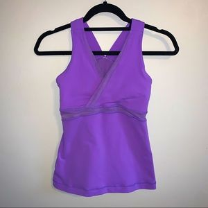 Lululemon purple v neck mesh back tank top